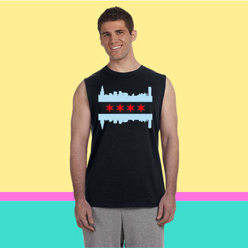 Chicago Flag Skyline Sleeveless T-shirt