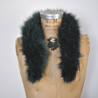 Teal Fox Fur Collar / genuine fur / 1980s