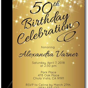 Gold Sparkly Birthday Invitations