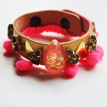 Leather Embellished PomPom Cuff Bracelet
