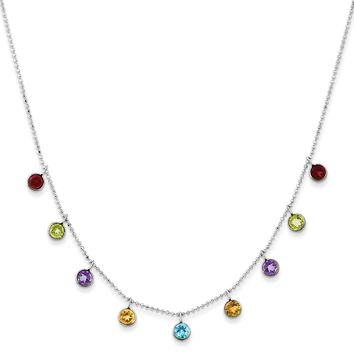 14K White Gold Multi-color Gemstone with 2in ext Necklace 18 Inch