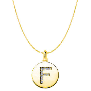 """F"" Diamond Initial 14K Yellow Gold Disk Pendant (0.11ct)"