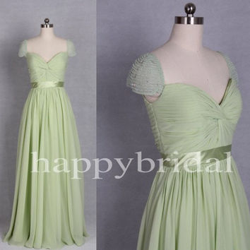 Elegant Short Sleeves Little Green Bridesmaid Dresses A line Chiffon Prom Dresses Party Dresses Homecoming Dresses 2014 New Fashion