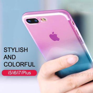Transparent Gradient Color Design TPU Silicon Case For iphone 6 6s 7 5 5s 6 plus Cover For iphone 7 7 plus Cases Case Capa