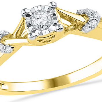10kt Yellow Gold Womens Round Diamond Solitaire Twist Promise Bridal Ring 1/10 Cttw 100366
