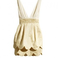 V-neck Lantern Dress with Scalloped Edge