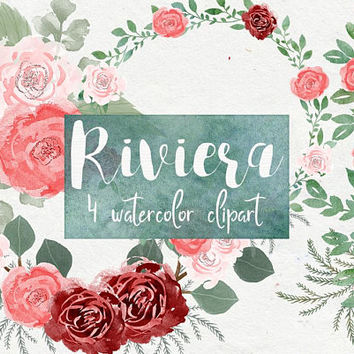 Riviera | watercolor flowers, watercolor roses clipart, romantic clipart, flower bouquets,painted flowers, watercolor bouquet, spring floral