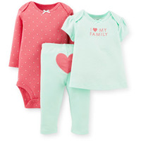 Walmart: Child of Mine by Carter's Newborn Baby Girl Top, Bodysuit, and Leggings 3 Piece Outfit Set