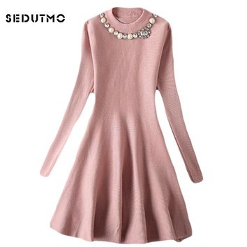 SEDUTMO 2018 Spring Sweater Dress Women Tunic Knitted Pearl Dresses Sexy Autumn Vintage Fashion Long Sleeve Party Dress ED076