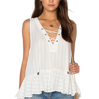 maven west Lace Up Ruffle Tank in Linen
