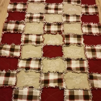 Big rig trucker rag quilt handmade lap quilt 18 wheeler truck driver blanket big rig sleeper quilt tan and burgundy Fathers Day gift