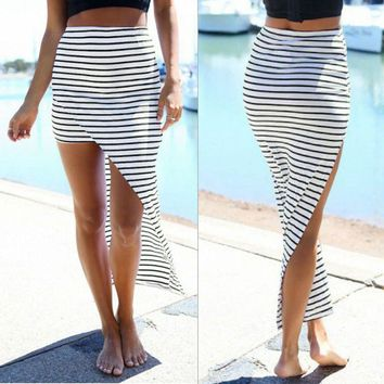 2017 New Fashion Women Summer Beach Bandage Pencil Skirt Side Split Black White Stripes Irregular Sexy Long Maxi Skirts