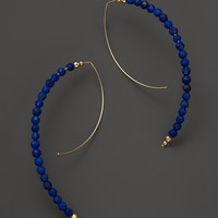 Mizuki 14K Yellow Gold Open Medium Marquis Hoop Earrings with Faceted Lapis Beads
