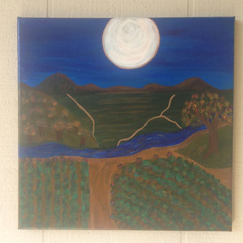 Vineyard, Harvest Moon  12x12 abstract acrylic landscape modern folk art