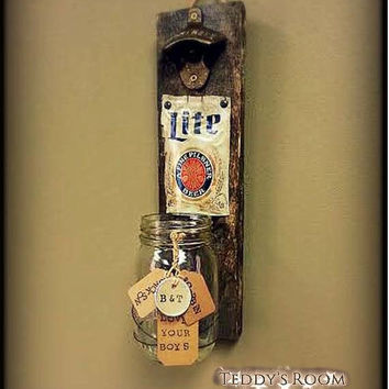 Rustic Pallet Wood Beer Bottle Opener and Cap Catcher Man Cave -Best Man Gift -Husband Gift - Gift for Dad - Groomsmen Gift-Personalized