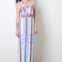 Women's Paisley and Floral Strapless Maxi Dress