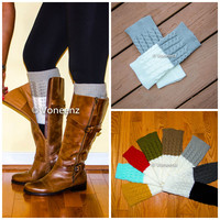 Light Gray & Ivory Reversible Knitted Boot Cuffs, Two Tone Boot Topper, Holiday Stocking Stuffer
