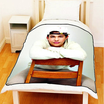 "Fleece Blanket AUSTIN MAHONE Mahomies Photo On Bed Throw Fleece Blanket New Size Medium 50"" x 60"""