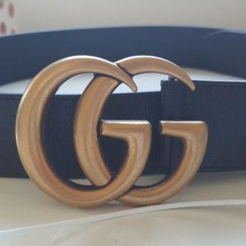 GUCCI Stylish Woman Men Double GG Smooth Buckle Leather Belt I