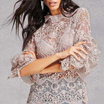 Crochet High Neck Ruffle Top