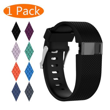 KingAcc Fitbit Charge HR Bands, Silicone Accessory Replacement Band for Fitbit Charge HR,Charge HR 1, With Metal Buckle Fitness Wristband Strap Women Men Large Small Black, Orange, Gray, Blue, Purple
