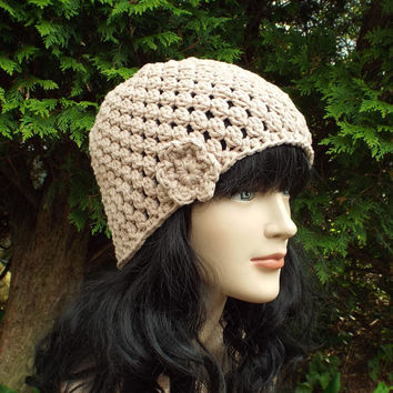 Beige Crochet Hat - Womens Beanie with Flower - Ladies Cap - Spring Fashion Accessories