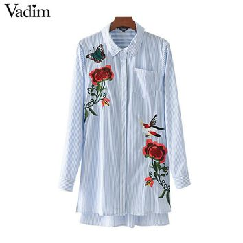 cute bird butterfly floral embroidery striped shirts pleated pocket long sleeve blouse ladies casual brand tops