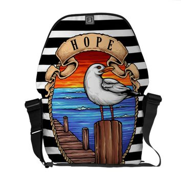 Tattoo Inspired Nautical Seagull Courier Bag