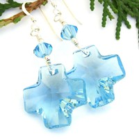 Swarovski Cross Earrings, Sparkling Aquamarine Blue Crystal Christian Handmade Dangle Jewelry
