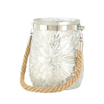 Glass And rope White Flower Candle Holder