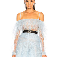 Rodarte Tulle Long Sleeve Off Shoulder Blouse in Light Blue Floral | FWRD