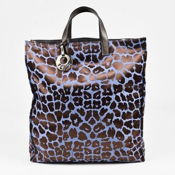 Fendi Blue & Brown Jacquard Canvas & Leather Leopard Top Handle Shopping Tote