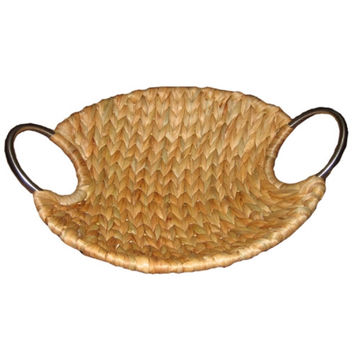 Fruit/bread water hyacinth tray with iron handles