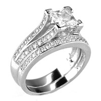 Platinum or Gold Plated .75 CT Princess Cut Cubic Zirconia CZ Engagement Wedding Ring Set