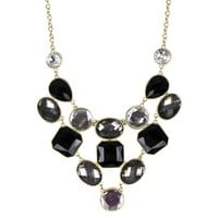 Women's Bib Necklace - Black/Gold