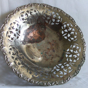 Footed vintage copper & tin bowl, Carved out design, embossed GRAPES, GRAPEVINES, Trinket tray rustic round RETICULATED dish, Metal carving