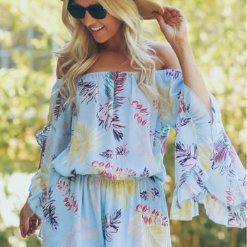 Off The Shoulder Ruffle Romper Mint