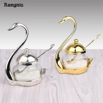 Condiment Pot Seasoning Container Spice Glass Jar Salt Sugar Bowl Pepper Coffee Storage Organizer Swan Rack Serving scoop P20