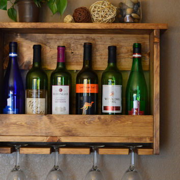 Country Rustic Wood 6 bottle Wine Rack Shelf with 4 glass holder.