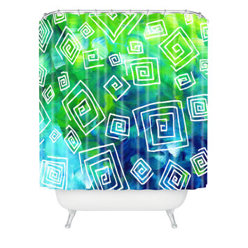 Madart Inc. Sea of Whimsy Square Curly Cue Shower Curtain