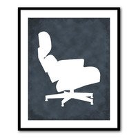 Chair Art - Icon - Wall Art - Eames Lounge Chair - Charles & Ray Eames - Mid-Century Modern Furniture - 8 x 10 or larger print - Room Decor