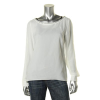 T Tahari Womens Crepe Lightweight Blouse