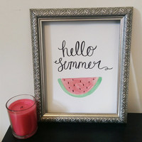 Hello Summer Wall Art Watercolor Print
