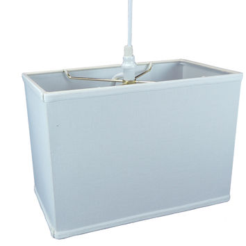 0-034975>Rectangular 1 Light Swag Plug-In Pendant Hanging Lamp (8x14) (8x14) x 10 White