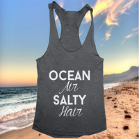 Ocean air Salty hair Tank top yoga racerback for women funny work out fitness summer hipster funny slogan