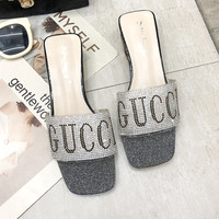 GUCCI 2019 new women's rhinestone letters fashion wild high-heeled sandals silver