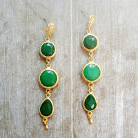 valentine day hart love fashion extra long earrings emerald green jade and  gemstones gold stone earring elegant glam fashion jewelry israel