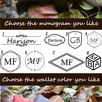 Wallet Monogram Customization Personalizaton for free Envelope Women gift Genuine leather Christmas gift Wedding favor