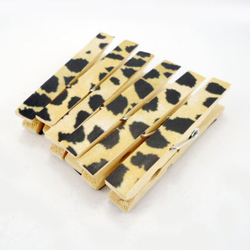 Clothespin Magnets set, Office Magnets, Decorated clothespins, Magnet Clips, Mothers Day gift, set of 6, Cheetah Leopard