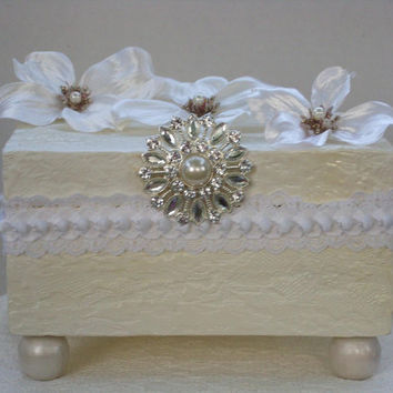 Decorative Box Pearl White with Cherry by TheDecorativeBox on Etsy